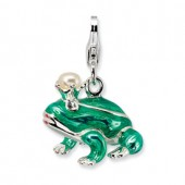 Sterling Silver 3-D Pearl Prince Frog Charm