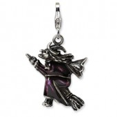 Enameled Witch on Broom  3-D