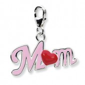Sterling Silver Enameled Mom Charm