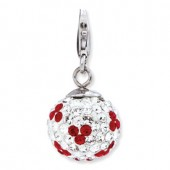 Sterling Silver Red/White Crystal Ball