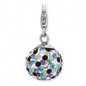 Sterling Silver Multicolor Crystal Ball