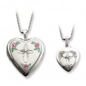 Polished Cross and Flower Locket