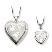 Polished and Satin Hands Locket