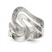 Sterling Silver Polished and Textured Swirl #4193