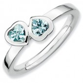 Sterling Silver Double Heart Aquamarine Ring