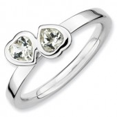 Sterling Silver Double Heart White Topaz Ring
