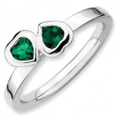 Sterling Silver Double Heart Created Emerald Ring