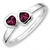Sterling Silver Double Heart Rhodolite Garnet Ring