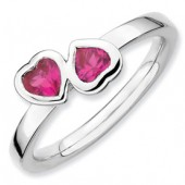 Sterling Silver Double Heart Created Ruby Ring
