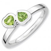 Sterling Silver Double Heart Peridot Ring