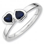 Sterling Silver Double Heart Created Sapphire Ring