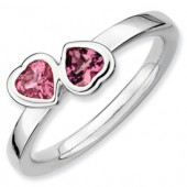 Sterling Silver Double Heart Pink Tourmaline Ring