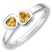 Sterling Silver Double Heart Citrine Ring