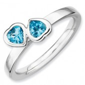 Sterling Silver Double Heart Blue Topaz Ring