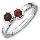 Sterling Silver Double Round Garnet Ring