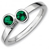 Sterling Silver Double Round Created Emerald Ring