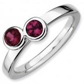 Sterling Silver Double Round Rhodolite Garnet Ring