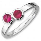 Sterling Silver Double Round Created Ruby Ring