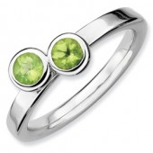 Sterling Silver Double Round Peridot Ring