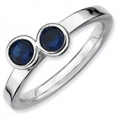 Sterling Silver Double Round Creatd Sapphire Ring