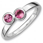 Sterling Silver Double Round Pink Tourmaline Ring