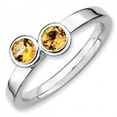 Sterling Silver Double Round Citrine Ring