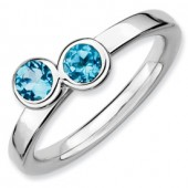Sterling Silver Double Round Blue Topaz Ring