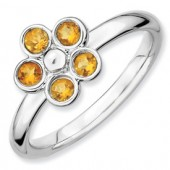 Sterling Silver Flower Citrine Ring