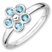 Sterling Silver Flower Blue Topaz Ring