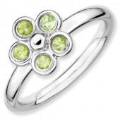 Sterling Silver Flower Peridot Ring