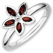 Sterling Silver Garnet Flower Ring