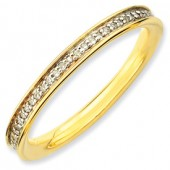 Sterling Silver Gold Plated Diamond Ring
