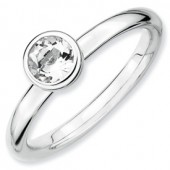 Sterling Silver White Topaz Ring