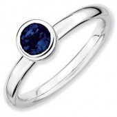 Sterling Silver Created Sapphire Ring