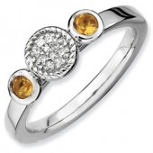 Sterling Silver Citrine and Diamnd Ring