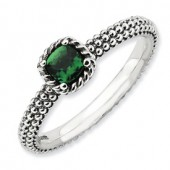 Sterling Silver Antiqued Created Emerald Ring