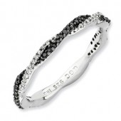 Sterling Silver Black and White Diamond Twist Ring