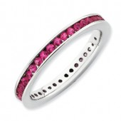 Sterling Silver Created Eternity Ruby Ring