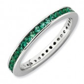 Sterling Silver Created Emerald Eternity Ring