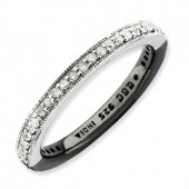 Sterling Silver Black and White Diamond Ring
