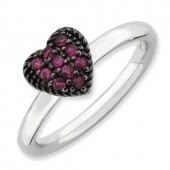 Sterling Silver Heart Shaped Created Ruby Ring