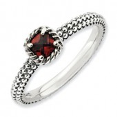Sterling Silver Antiqued Garnet Ring