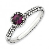 Sterling Silver Antiqued Rhodolite Garnet Ring