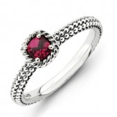 Sterling Silver Antiqued, Created Ruby Ring
