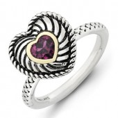Sterling Silver Heart Shaped Rhodolite Garnet Ring