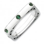 Sterling Silver Square Created Emerald Ring