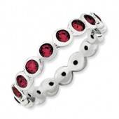 Sterling Silver Ruby Swarovski Crystal Ring