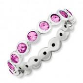 Sterling Silver Swarovski Pink Tourmaline Ring