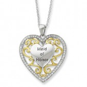 CZ Maid of Honor Heart