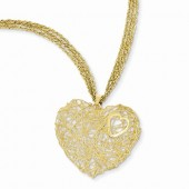 Yellow Gold Triple Strand Heart Necklace